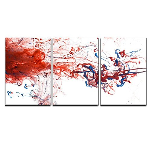 (wall26 - 3 Piece Canvas Wall Art - Red and Blue Color Ink Paint Abstract Pattern in Water Liquid - Modern Home Decor Stretched and Framed Ready to Hang - 24
