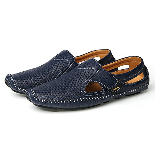 Loafers Shoes Breathable Leather Walking Hiking Men's Casual Blue qPgtwW8