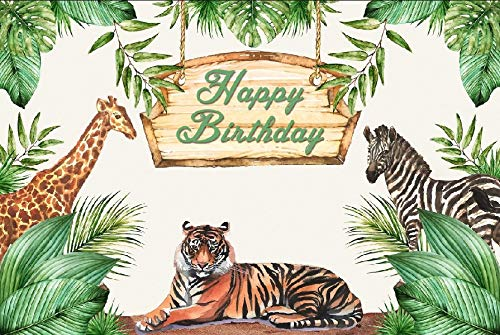 (Laeacco Happy Birthday Backdrop 7x5ft Vinyl Photography Background Watercolor Theme Zoo Giraffe Tiger Summer Tropical Jungle Leaves Trees Party Decoration Wallpaper Children)