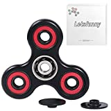 LetsFunny Shine Fidget Tri-Spinner EDC Toy SP-CP-KB-WP Boredom Spins high speed Non-3D Relieve Stress anxiety useful for ADHD ,ADD ,Autism (Black+Red)