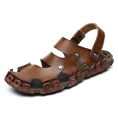 Sandalias de cuero de los hombres zapatos de agua puramente hechos a mano durable pero suave manera y cómodo Khaki