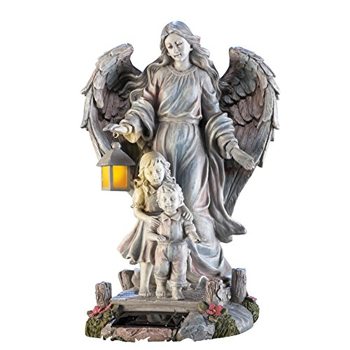 Solar Guardian Angel & Children Garden Statue, White