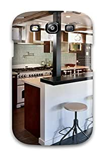 Hot Tpu Cover Case For Galaxy/ S3 Case Cover Skin - Modern Kitchen With Wood Floor Glass Tile Backsplash Amp Bar Seating
