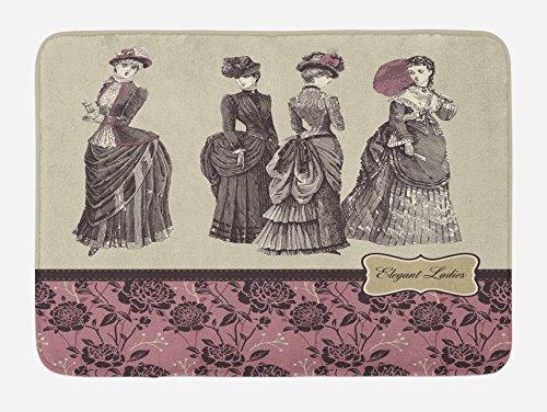 Ambesonne Victorian Bath Mat, Ladies Clothes Fashion History Dress Handbag Feather Gloves Floral Design Print, Plush Bathroom Decor Mat with Non Slip Backing, 29.5 W X 17.5 L Inches, Grey Rose - Floral Print Victorian