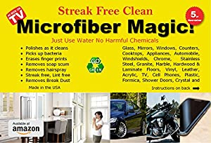 Microfiber Magic Streak Free, Lint Free, 3 Pack of Large 16 x 16 inch microfiber Cleaning Cloths for Kitchen, Bath, Windows, Car, Auto, Motorcycle, Cell or TV Screens …