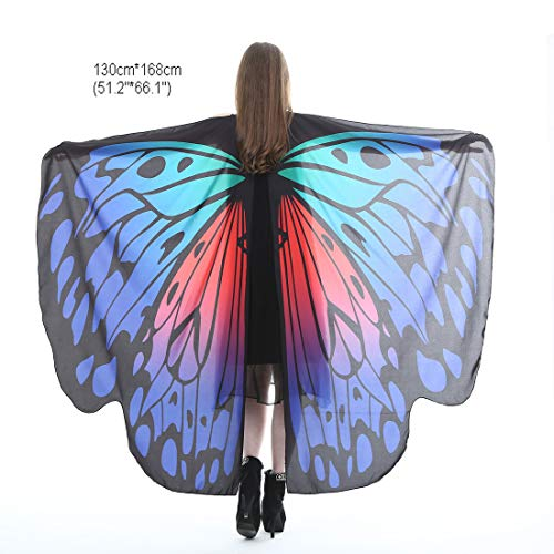 Halloween Party Soft Fabric Butterfly Wings Shawl Fairy Ladies Nymph Pixie Costume Accessory (Royal Blue & Red)