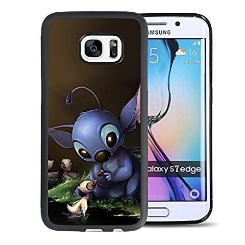 Lilo & Stitch Samsung Galaxy S7 Edge Case, Onelee [Never fade] Disney Lilo & Stitch Samsung Galaxy S7 Edge Black TPU and PC Case [Scratch proof] [Drop (Stitch Cell Phone Case)