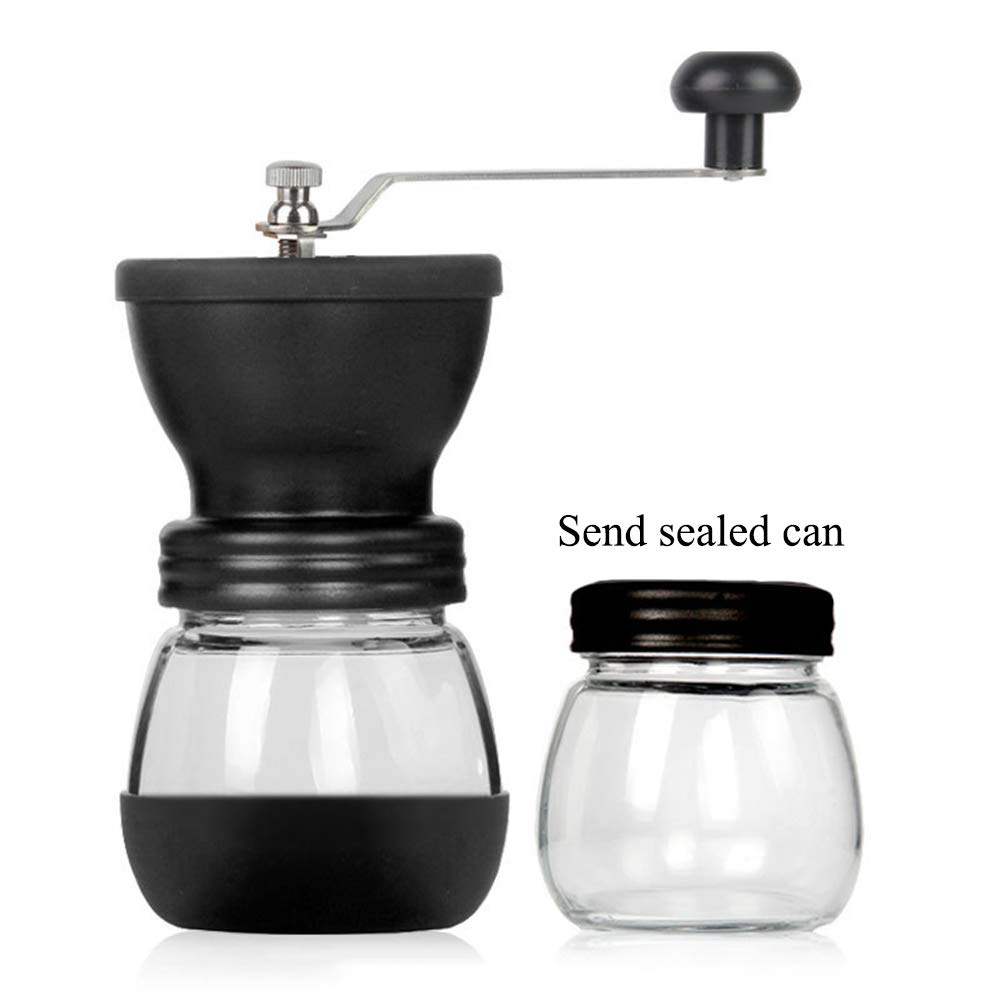Manual Coffee Grinder with Conical Ceramic Burr - Because Hand Ground Coffee Beans Taste Best, Infinitely Adjustable Grind, Glass Jar, Stainless Steel Built to Last, Quiet and Portable, Household