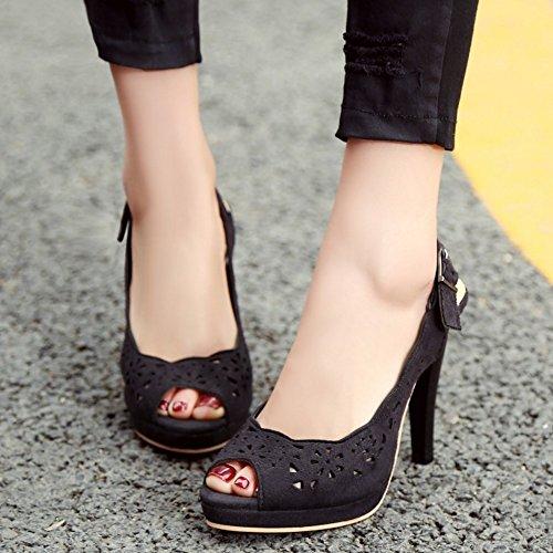 TAOFFEN Mujer Elegante Peep Toe Sandalias Tacon Embuda Tacon Alto Slingback Zapatos De Boda Negro