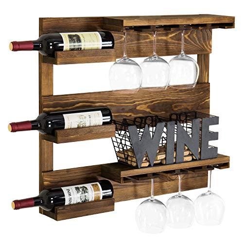 MyGift Rustic Burnt Wood Wall-Mounted Inverted Wine Glass Holder & Bottle Storage Rack