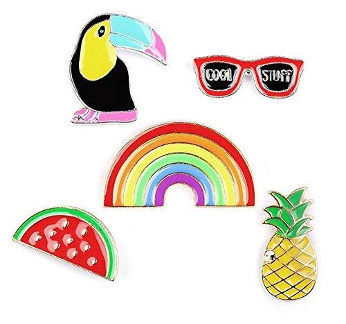 Beyond Brosche/Anstecknadel/Pins - 5 Stück Set - Ananas, Sonnenbrille, Tukan, Wassermelone, Regenbogen
