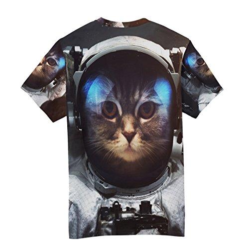 T Cou Courtes Brave Espace Homme Ras shirt Alaza Multicolore Chat Manches Du Astronaute À Décontracté 8qa4U