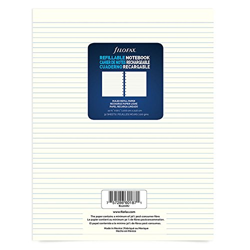 "Filofax Letter Size Refill Sheets, 10.875"" x 8.5"", 64 Ruled Pages (B112008U)"