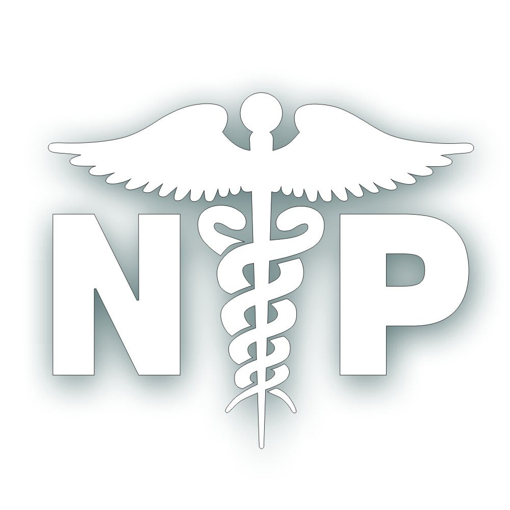 Amazon np caduceus decal for nurse practitioner hospital amazon np caduceus decal for nurse practitioner hospital heath care medical field worker windshield or bumper sticker 5 x 6 14 inch in white biocorpaavc