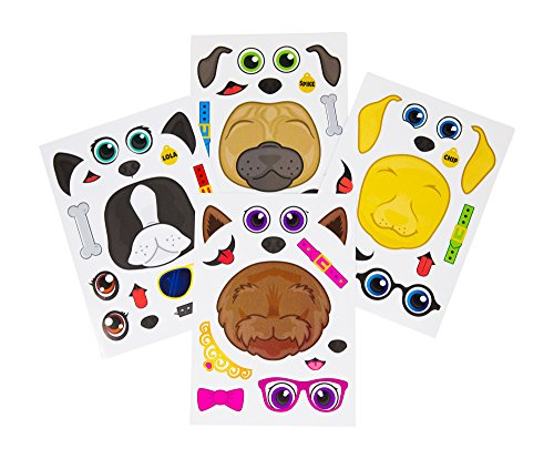 24 Make A Dog Stickers For Kids - Great For Birthday Party Favors - Fun Craft Project For Children 3+ - Let Your Kids Get Creative & Design Their Favorite Puppy Stickers -
