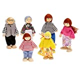 Smibie 6 Pcs Cute Wooden Happy Doll Family for Kid's Dollhouse