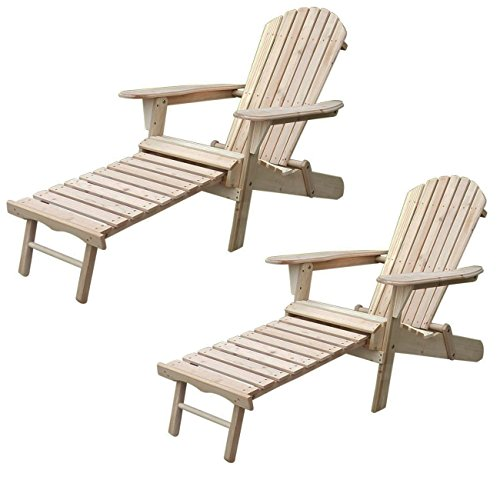 Price comparison product image Sliverylake Outdoor Wood Adirondack Chair Chaise (2)