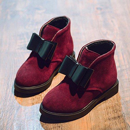 Winter Kinder Stiefel Schuhe,Hunpta Kinder Mode Jungen Mädchen Martin Sneaker Dicken Schnee Baby Freizeitschuhe Rot 1