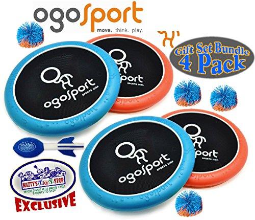 Ogo Sport 15'' Mezo OgoDisk, Ogo Soft Ball & Exclusive ''Matty's Toy Stop'' Mini Aero Football Deluxe Family Gift Set Bundle - 4 Pack by OgoSport