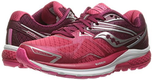 Saucony Women's Ride 9 Running Shoe, Pink/Berry, 7.5 M US