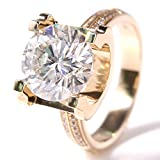 TransGems 5 Carat Lab Grown Moissanite Wedding Ring with Diamond Accents in 14K Yellow Gold for Women