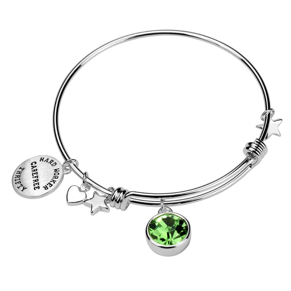 Silver Brass Charm Birthstone Crystal Expandable Bangle Bracelet, 7.8''