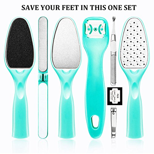 Foot File Remover, BoBo 8 PCS Piece Colossal Foot Rasp Foot Peel and Callus Clean Feet Dead Skin Tool Set by BoBo Care