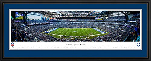 Indianapolis Colts Lucas Oil Stadium (Indianapolis Colts - 50 Yard  - Blakeway Panoramas NFL Posters with Deluxe Frame)
