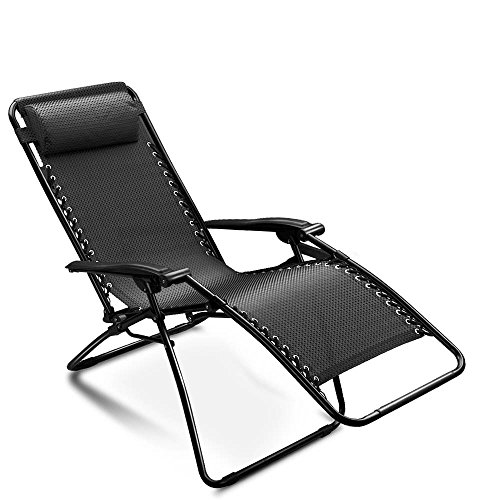 Zero Gravity Chair Adjustable Folding Lounge Recliner By Breathable Mesh Fabric And Coated Steel Frame With A Removable Pillow For Outdoor Beach Pool Patio Garden Yard Camping Black