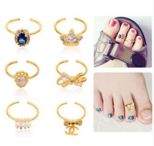 CHENGYIDA 6pcs/set Toe Nail Art Decorations Glitter Rhinestone Zircon Alloy Nail Rings Bow Crown Design Strass Charms Fashion Jewelry (Rings Strass)