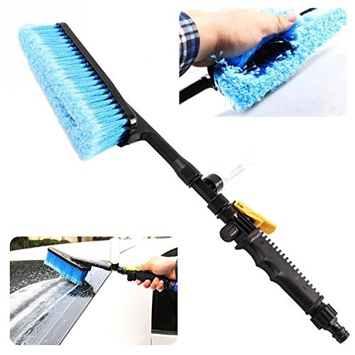 Car Wash Brush AUTOPDR Car Washing Brushes Tools Kit With Handle Switch Water Flow Foam Gun Car Cleaning Brush Pivot Pro Water Detachable Vehicle Washing