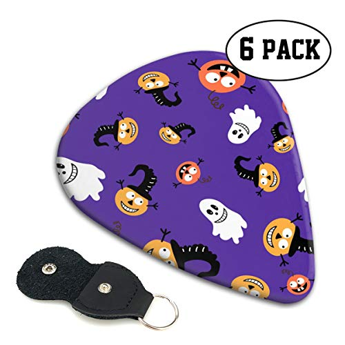 LXXTK Unique Pumpkin Halloween Pattern Celluloid Guitar Pick 6 Pack - Music Gifts for Bass, Electric & Acoustic Guitars ()