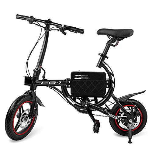 SwagCycle EB-1 Lightweight Aluminum Folding eBike with High-Torque 250W Motor and Dual Disc Brakes; Electric Bike with Pedal-Assist and Swappable Bike Seats (Black)