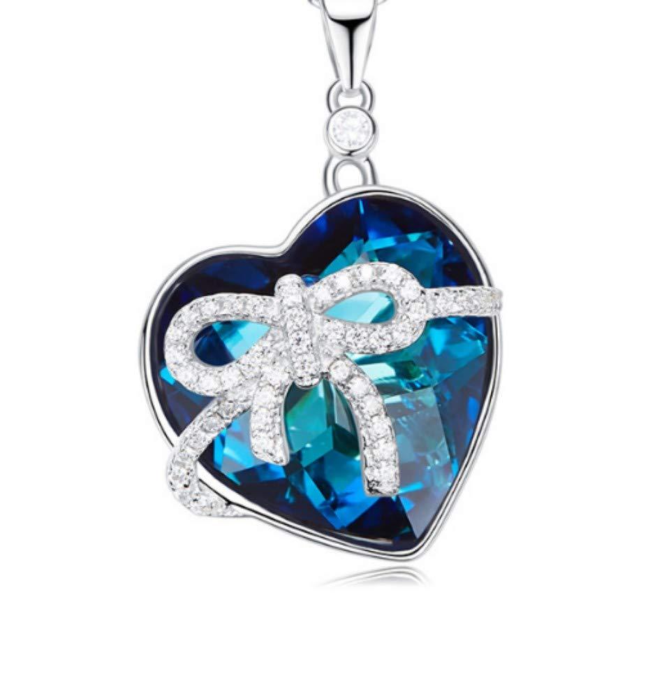 QWERST女性ネックレススターリングシルバーハート型ペンダントファッション絶妙なネックレス最高の贈り物A   B07MF9XCHH