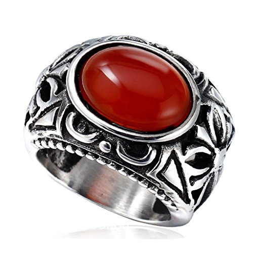 Green Man Always Sunny Costume (Beydodo Stainless Steel Men Rings Hollow Punk Cross Band, Oval Faux Agate, Scarlet, Size 7)