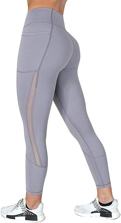 Pantalones Mujer Lanskirt Leggins Mujeres Fitness Ajustados con Bolsillo de Malla Leggings Deportivos Pantalones de Yoga de Secado Rápido para Yoga Deporte Running: Amazon.es: Ropa y accesorios