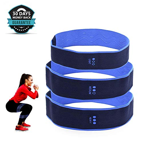 Fabric Non Slip Hip Bands for Booty Resistance Workout Bands, Women and Men - Elastic Non Slip Loop with a LowSet of 3, Perfect for Squats, Legs, Butt, Thigh and Hip Workout. ...
