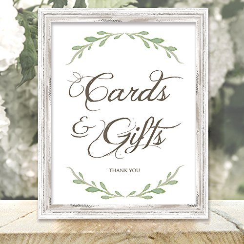 Cards and Gifts Sign - Greenery Wedding Sign - 8.5-inch x 11-inch Printed Cards and Gifts Sign - Frame Not Included