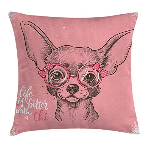 Ambesonne Dog Throw Pillow Cushion Cover, Girl Chihuahua Sketch Illustration with Fashion Glasses Ribbons Puppy, Decorative Square Accent Pillow Case, 18 X 18 Inches, Pale Pink Army Green