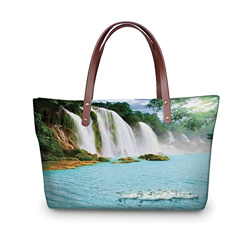 Design the fashion for you Waterproof Women Casual Handbag Tote Bags,Waterfall,Image of a Grand Waterfall with Swans in the Lake Sunny Day Nature Print,Blue Green White. (Clear Waterfall Glass Grande)