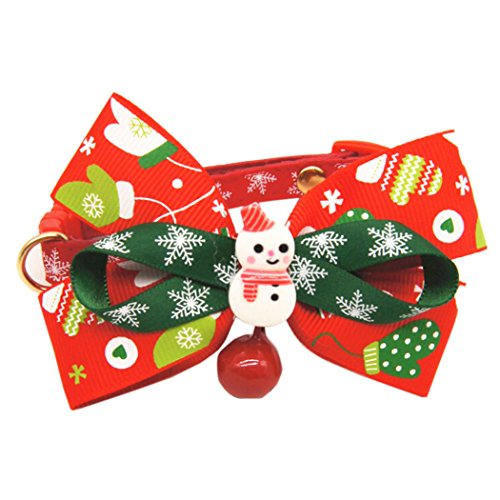 Christmas Dog Collar,Funpa Adjustable Dog Cat Collar with Bow Tie and Jingle Bell for Small Dogs Cats Xmas Party Ornaments (Cat Bow Tie Christmas)