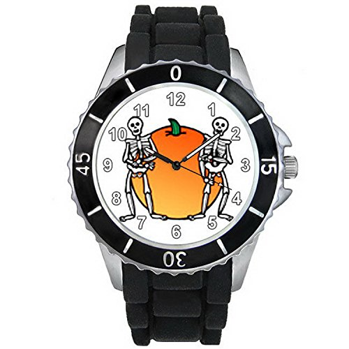 BMSC841 Halloween Pumpkin Skull Black Jelly Silicone Strap Mens Ladies Wrist Watch