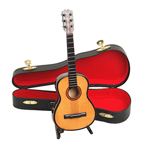 MyLifeUNIT 4″ Mini Instrument Wood Guitar Decoration