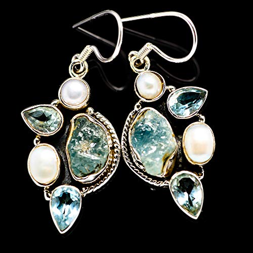 "Rough Aquamarine, Blue Topaz, Cultured Pearl 925 Sterling Silver Earrings 1 3/4"" - Handmade Boho Vintage Jewelry EARR381303 from Ana Silver"