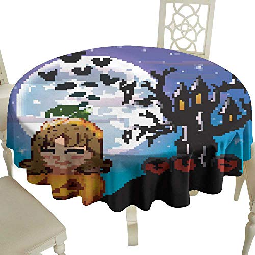 WinfreyDecor Waterproof Tablecloth Halloween Night Background with Cute Little Girl in Basket Pumpkin Great for Buffet Table D39