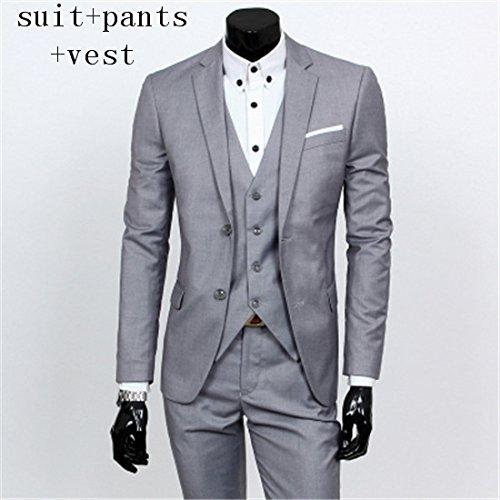 Gilet Pantalons Button Pantalon Blazer Blazers Hommes One Trois Pièces Ensembles Wedding De Costume Gris Et amp; Costumes Manteau Yhnsxz Pour Deux Xl Suit Veste Homme 6Yq0ww1