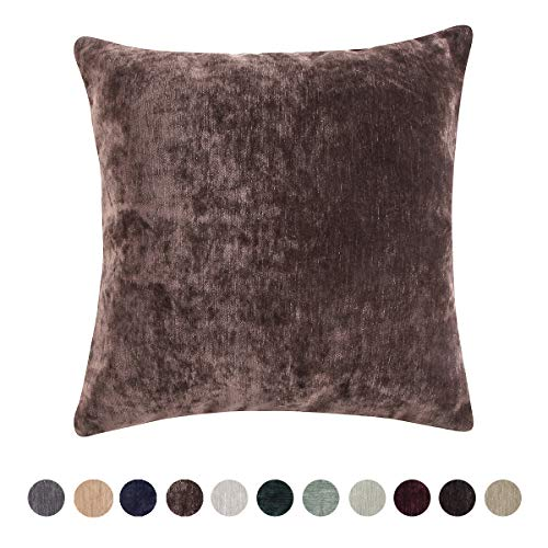 Loom & Mill Home Decorative Chenille Velvet Super Soft Solid Throw Pillow Cover Warm Cushion Cover Case for Sofa Bedroom Study with Zipper Hidden - (18 X 18 Inch, Dark Brown)