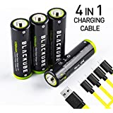 AA High-Capacity USB Rechargeable Batteries 4 Count Power Plus Lithium Li-Ion Battery 1250mAh rechargeable with Micro-USB Charging Cable (Battery AA-4 pack)