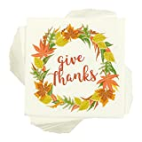 "100-Pack Cocktail Napkins – Thanksgiving ""Give Thanks"" Disposable Paper Party Napkins with Autumn Leaves Design, Perfect for Luncheons, Dinners, and Celebrations, 5 x 5 Inches Folded Reviews"