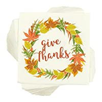 thanksgiving Give Thanks Disposable Paper Napkins